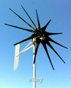 1000 WATT 11 blade ULTRA LOW WIND 48 VOLT DC 2-WIRE NONCOG PMA TURBINE GENERATOR