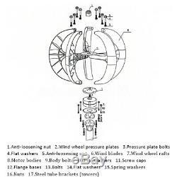 1500W 12V/24V Lanterns 5 Blades Wind Turbine Generators Vertical Axis+Controller