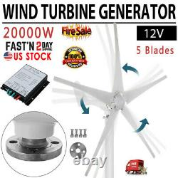 20000W Wind Turbine Generator Unit 5 Blades DC 12V With Power Charge Controller