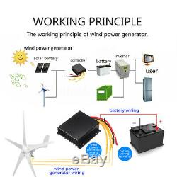 3000W 12V 24V Wind Turbine Generator Kit 5 Blades Charger Controller Home