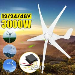 3000W DC12/24/48V 3/5Blades Wind Turbines Generator Horizontal Charge Controller