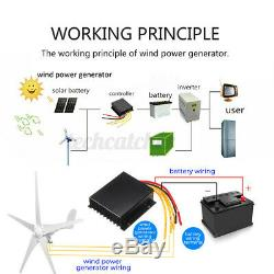 3700/4200W 3/5 Blades Wind Turbine Generator Kit Charge Controller Power 12/24V