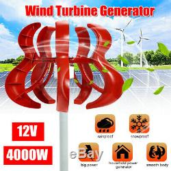 4000W Lantern Wind Turbine Generator Kit 12V Vertical Axis 5 Blades Controller