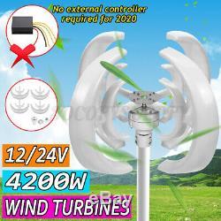 4200W 12/24V 4 Blades Rotor Lantern Wind Turbines Generator Unit Vertical