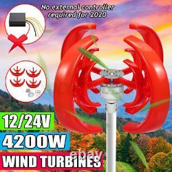 4200W 12/24V Vertical Axis 4Blade Rotor Lantern Wind Turbines Generator Windmill