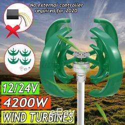 4200W 12V/24V 4 Blades Wind Turbine Generator Vertical Axis Energy Power
