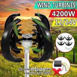 4200W 4 Blades Lantern Wind Turbine Generator Vertical Axis Boat/Marine Black