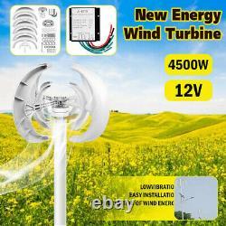 4500W 12V Auto Windward Lantern Wind Turbine Generator Vertical Axis 4 Blades