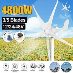 4800W Max Power 5 Blades DC 24V Wind Turbine Generator Kit W. Charge Controller