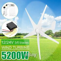 5200W Max Power Wind Turbines Generator 3/5Blades+DC12/24V Charge Controller