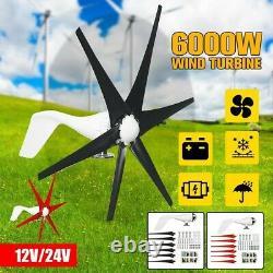 6000W Wind Turbine Generator 24V 6 Blade Wind Turbine Horizontal Home Power