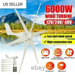 6000W Wind Turbine Generator 48V 6 Blade Wind Turbine Horizontal