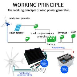 8000W Power 8 Blade 12V/24V Wind Turbines Generator Kit + Charge Controller