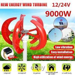 9000W 5 Blades Vertical Axi Wind Turbines Generator Lantern 12V 24V Motor Kit
