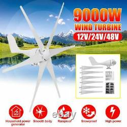 9000W Wind Turbines Generator Horizontal Windmill Energy 6 Nylon Fiber Blades 48