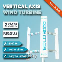 Domestic vertical axis wind turbine generator EOLO 3000W house garden roof 3KW