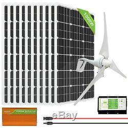 ECO Hybrid Kit100W 200W 500W 1000W Solar Panel + 400W Wind Turbine Generator
