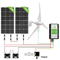 ECO-WORTHY 600W Hybrid Kit 400W Wind Turbine Generator & 2 pcs 100W Solar Panel