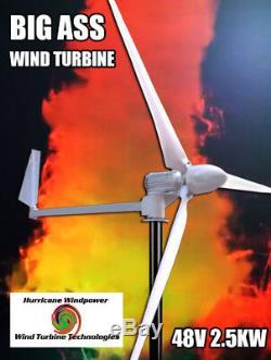 Hurricane BIG ASS Wind Turbine Generator 2.5 KW 2500 Watts 48V with Controller