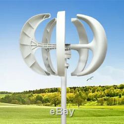 Max 600W VAWT 12V 24V 5 Blades Vertical Wind Turbine Generator + Controller NEW
