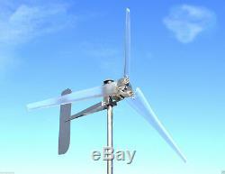 ULTRA LOW WIND Turbine Generator 1000 Watt 3 Blade CLEAR 12 VDC 2-WIRE 3.25 kWh