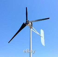 Wind Turbine 76 D 1685 Watt 3 Black Blade 24 VDC 2-WIRE Generator 6.3 kWh