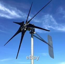 Wind Turbine Generator 1150 Watt 6 Black blades (60.5D) 48 DC 2 wire PMA