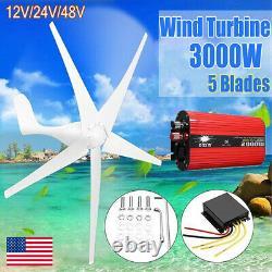 Wind Turbine Generator Kit 3000W Powerful 5 Blades 12V/24V/48V Power Inverter