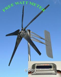 Wind generator turbine 5 Blade 1685W 48 VAC 3 wire 6.3 kWh FREE WATT METER