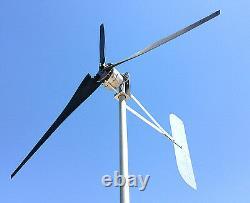 Wind mill 1685 Watt 76D 3 black Blade 24 AC 3-PH PMA generator 6.3 kWh