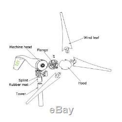 1500w Max Power Dc12 / 24v 3-blade Wind Turbine Générateur Contrôleur De Charge Légère