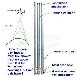 1kwith1000w Éolienne 48v Générateur Mast Kit Boat Uk Power Energy Stock Hors Réseau