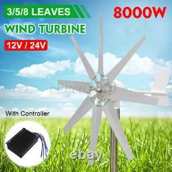 3/5/8 Blades 8000w Unité Éolienne Générateur De Courant Continu 12 / 24v Contrôleur De Charge