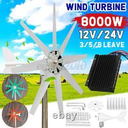 3/5/8 Pales 8000w Générateur D'éoliennes Unité+contrôleur De Charge D'alimentation 12/24v