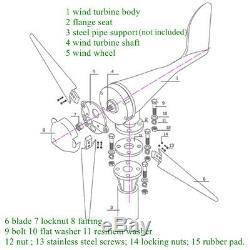 3000w 12v 24v Générateur Eolien Kit 5 Contrôleur De Charge Blades Accueil