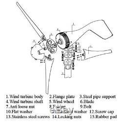3000w Wind Turbine Du Générateur Unité 5 Lames DC 12v Avec Contrôleur De Charge D'alimentation