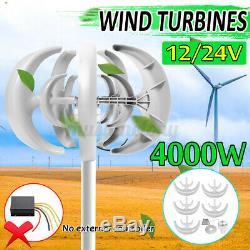 4000w Dc12v / 24v 5 Lames Éolienne À Axe Vertical Générateur D'énergie Propre Puissance