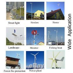4000w Lanterne Éolienne Générateur Kit 12v Axe Vertical 5 Contrôleur Blades
