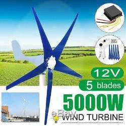 5 Blades 5000w Éolienne Générateur Unité 12v DC W. Puissance Contrôleur De Charge 5a