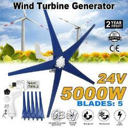 5 Lames 5000w Éolienne Générateur Kits DC 24 V W. Power Charge Nouveau Contrôleur