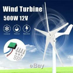 500w 5 Lames 12v Horizontal Éolienne Générateur Kit Avec Contrôleur De Charge