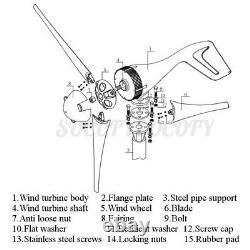 5400w Max Power 5 Lames DC 24v Wind Turbine Kit W. Charge
