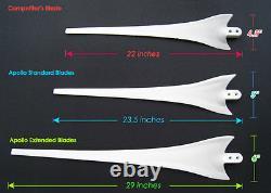 62 Pale De Générateur D'éoliennes Blanches +cône De Nez + Plaque Tournante En Aluminium