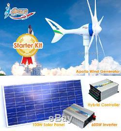 650 Watt W 12 V Wind Turbine Générateur Hybride + Contrôleur + Onduleur + Panneau Solaire
