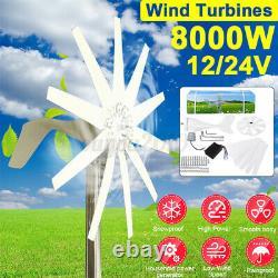 8000w 12/24v 10 Lames Turbine À Vent Avec Régulateur De Batterie Pour Charge De Batterie