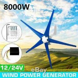 8000w 5 Lames 12v / 24v Éoliennes Générateur Horizontal Aérogénérateur Avec Co