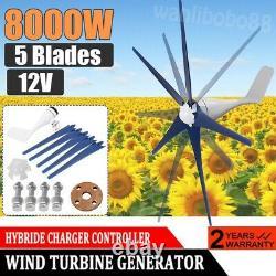 8000w Générateur De Turbine Éolienne 12v 5 Turbine Éolienne À Lame Horizontale Avec Contrôleur
