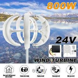 800w 24v 5 Blade Wind Turbine Generator Vertical Axis Unit Avec Contrôleur De Charge