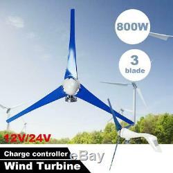 800w Alimentation 12v / 24v Horizontal Éolienne Générateur Moulin À Vent Contrôleur De Charge