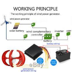 800w Wind Turbine Générateur 12 / 24v Vawt Axe Vertical 5blades + Chargeur Contrôleur